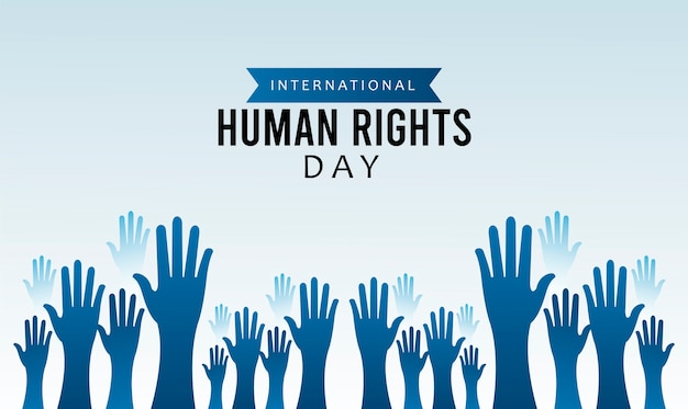 Human rights day poster with hands up silhouette illustration design