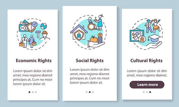 Human rights groups onboarding mobile app page screen with concepts. economic, social and cultural rights. walkthrough steps graphic instructions. ui  template with rgb color illustrations