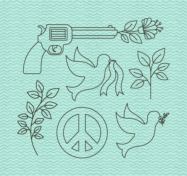 Human rights and peace set icons