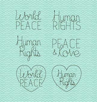 Human rights and peace set letterings