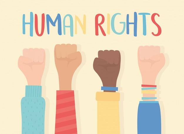 Human rights, raised hands in fist gesture inscription vector illustration