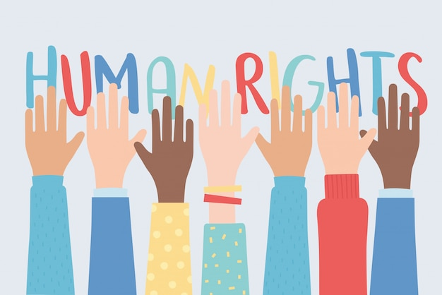 Human rights, raised hands together community vector illustration