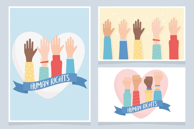 Human rights, together community hands cards vector illustration