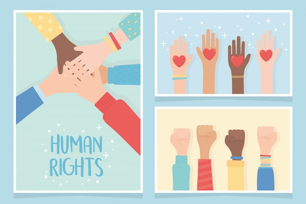 Human rights, together community hands equality cards vector illustration