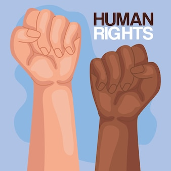 Human rights with fists up design, manifestation protest and demonstration theme  illustration