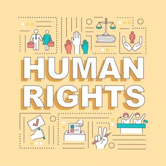 人権単語概念バナー。道徳の原則と自由。国際法。黄色の背景に線形アイコンとインフォグラフィック。タイポグラフィ。 rgbカラーイラストの概要