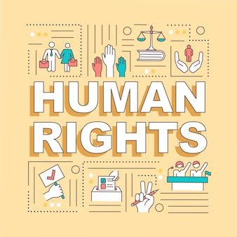 Human rights word concepts banner. moral principles and freedoms. international law. infographics with linear icons on yellow background.  typography.  outline rgb color illustration