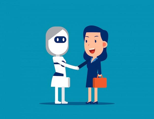 Human and robot handshake