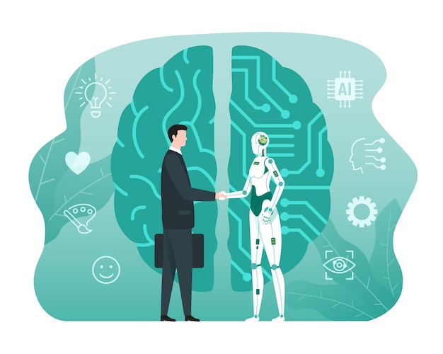 Human and robot partnership concept, artificial intelligence technology