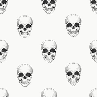 Human scull seamless pattern. hand drawn skeleton illustration.