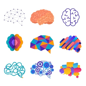 The human silhouette sees the brain in the head, which is connected to the brain.  illustrations.