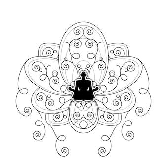 연꽃 벡터 템플릿과 인간의 실루엣입니다. 흰색 배경에 로터스 개요에서 여성 명상과 격리 요가 레이블. 휴식과 웰빙 로고 그림