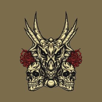 人間の頭蓋骨とドラゴンの頭のイラスト