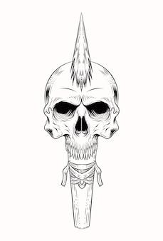 人間の頭蓋骨と槍のベクトル図