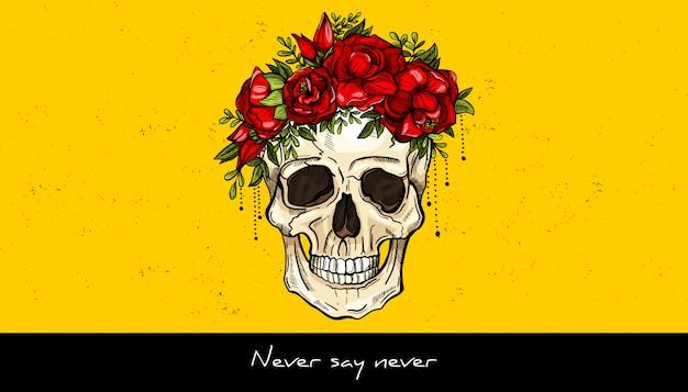人間の頭蓋骨と花の花輪のタトゥーのデザイン。