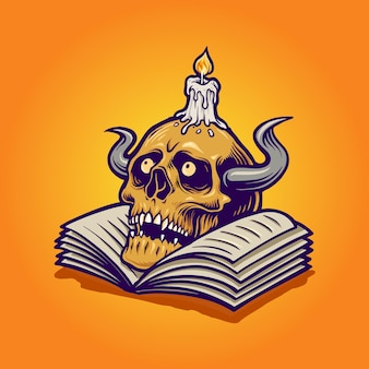 Human skull and book with candle