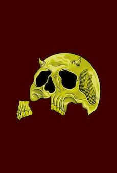Human skull broken jaw artwork illustration
