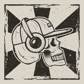 Human skull in cap and with headphones listening to music