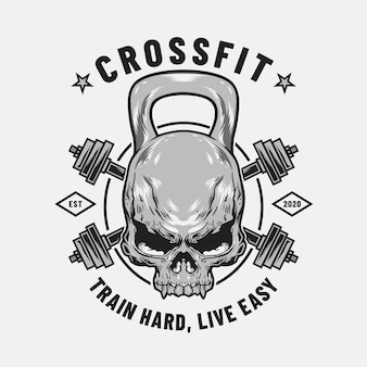 Human skull dumbell and cross barbell