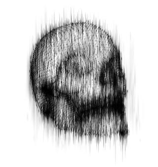 背景のインクの滴りからの人間の頭蓋骨。抽象的なベクトル。