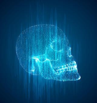 Человеческий череп из капель чернил