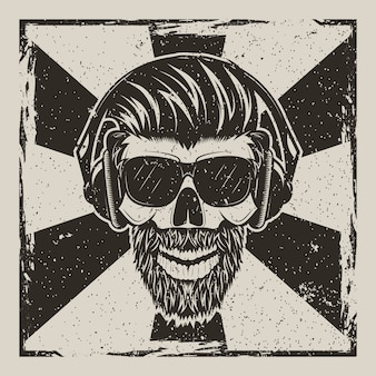 Human skull in glasses with mustache and beard listening to music