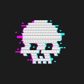 Human skull glitch effect. distortion cranium  icon. isolated brainpan.