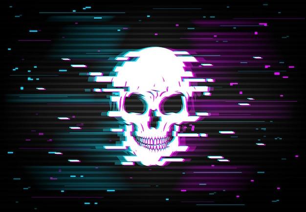Human skull on glitching display.