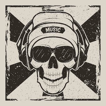 Human skull in hat, glasses and with headphones listening to music