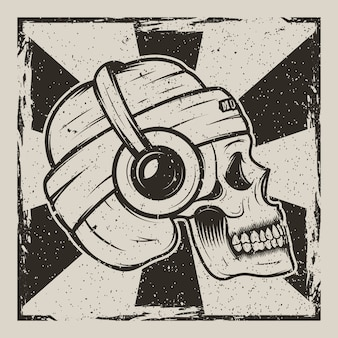 Human skull in hat and with headphones listening to music