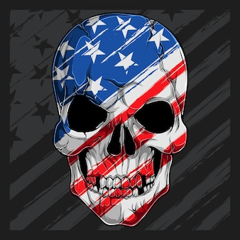 Human skull head with american flag pattern. independence day veterans day 4th of july and memorial day