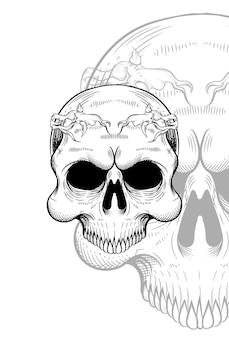 Human skull and headband root artwork illustration
