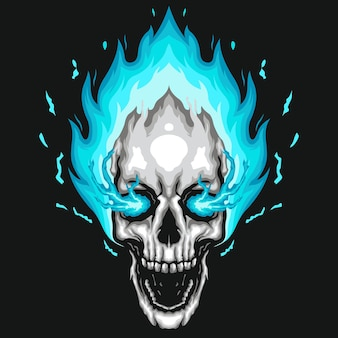 Human skull illustration of blue fire