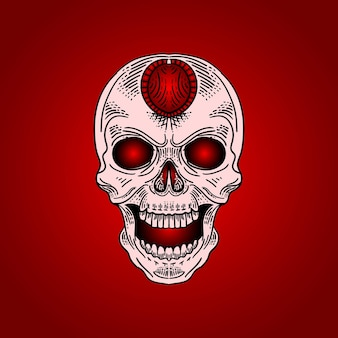 Human skull illustration with engrave style