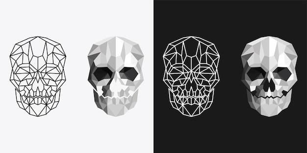 Human skull monochrome and line art design template