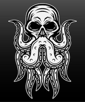 Человеческий череп осьминога изолирован на черном