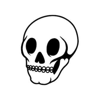 밝은 배경에 인간의 두개골입니다. 로고, 레이블, 기호, 핀, 포스터, 티셔츠 디자인 요소입니다. 벡터 일러스트 레이 션