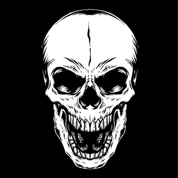 人間の頭蓋骨のレトロなイラスト