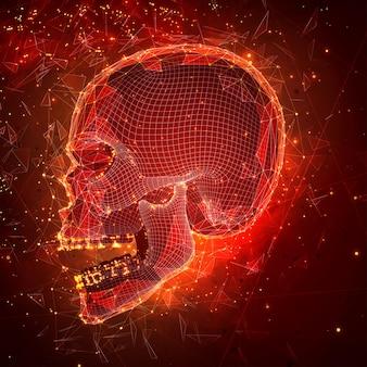인간의 두개골. 벡터 개념입니다. 삼각 측량기, 3d 체적. 파괴와 폭발