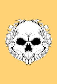 Человеческий череп с цветком векторные иллюстрации