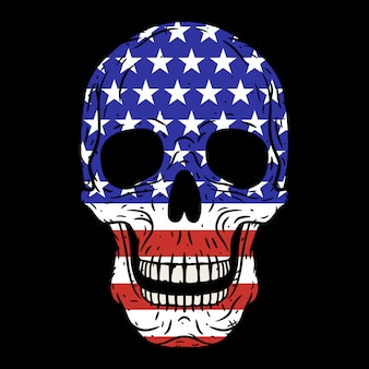 Human skull with american flag isolated
