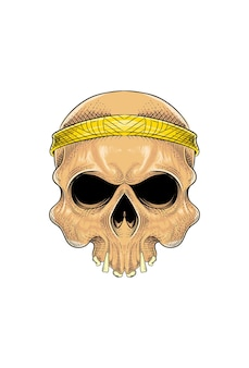 Human skull with bandana vector illustration