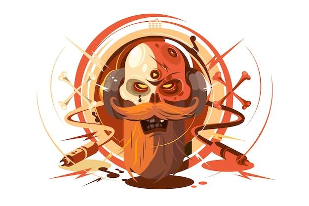 Человеческий череп с бородой, слушающий музыку в наушниках