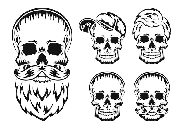 Human skull with beard and mustache black silhouette