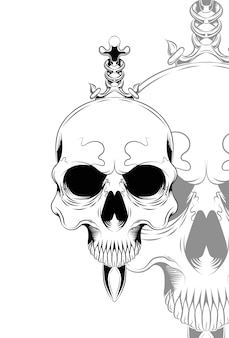 Human skull with a blade vector illustration