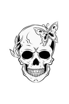 나비와 식물 벡터 일러스트와 함께 인간의 두개골