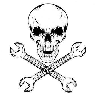 Человеческий череп с пересекающимися гаечными ключами иллюстрации Premium векторы