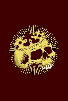 Human skull with crown vector illustration