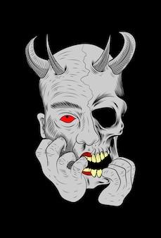 Human skull with devil vector illustration