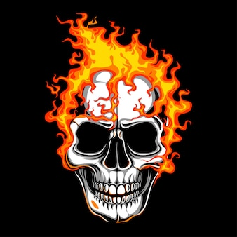 Human skull with fire
